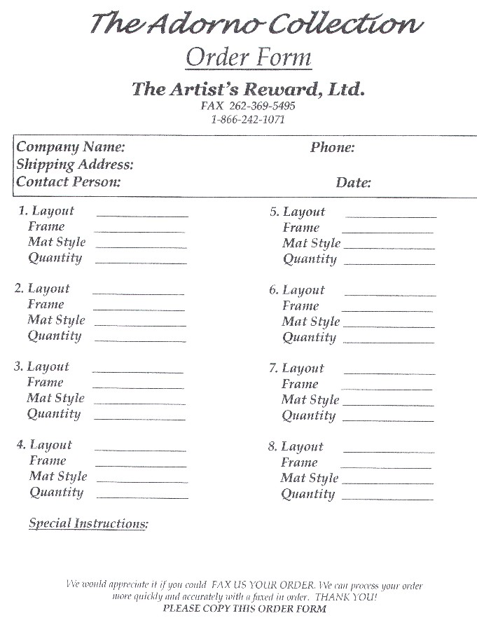 The Artists Reward Photographers Order Form